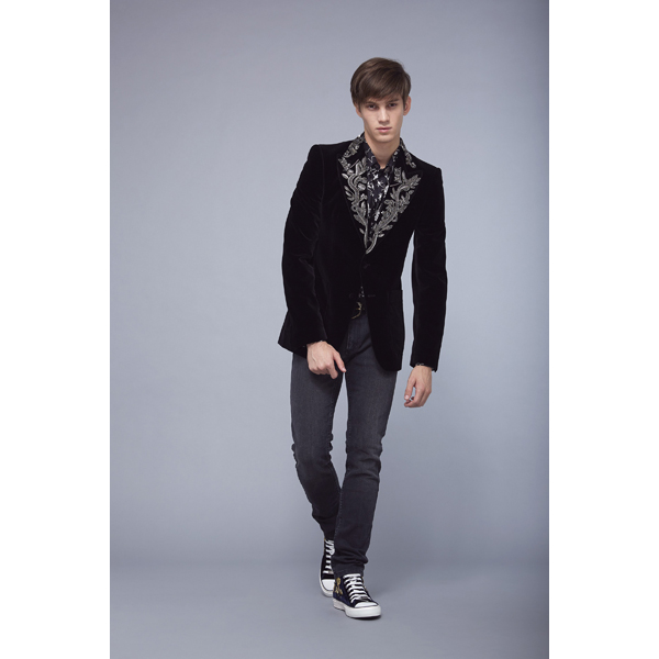 Roberto Cavalli JACKET WITH EMBROIDERED LAPELS BLACK On Sale