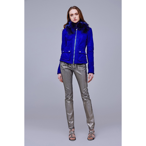 Roberto Cavalli SHEEPSKIN JACKET WITH ASTRAKHAN COLLAR ELECTRIC BLUE On Sale