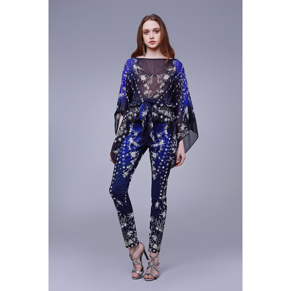Roberto Cavalli PRETTY THING SILK KAFTAN MIDNIGHT BLUE On Sale