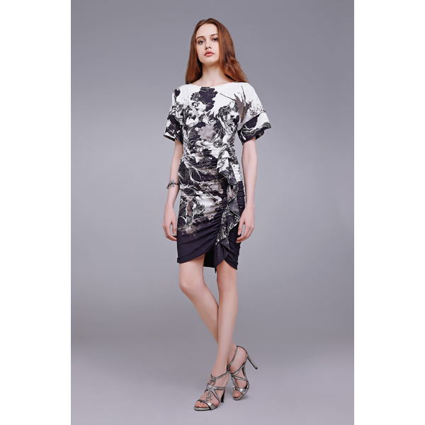 Roberto Cavalli KIMONO FLORAL PRINT DRESS WITH RUFFLES BLACK On Sale