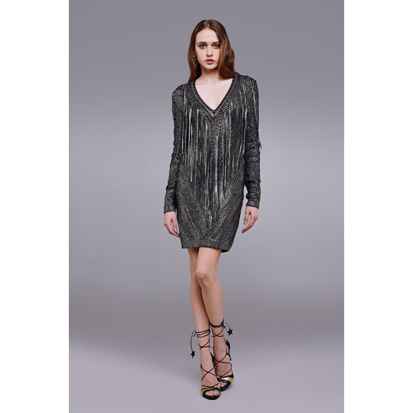 Roberto Cavalli WOVEN DRESS WITH LEATHER FRINGE BLACK/GOLD On Sale