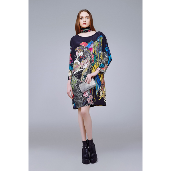 Roberto Cavalli NYMPHEA TUNIC DRESS BLACK/MULTICOLOURED On Sale
